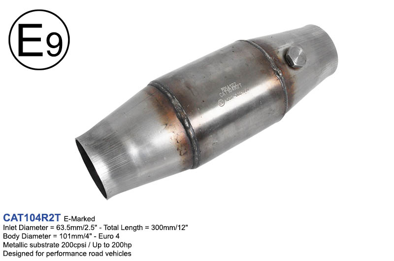 Performance Catalytic Converter E9 E-Marked 200 cpsi inlet 63.5mm 2.5/""