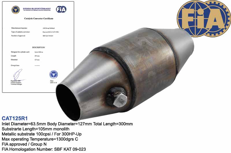 FIA approved 127mm catalytic converter 100cpsi for Group N Race cars